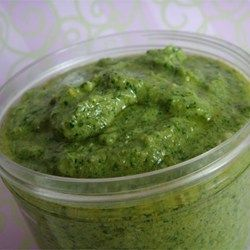 *JJ Spinach Basil Pesto - highly rated, so good, make again! Don't freeze with Parmesan in it. Add later.