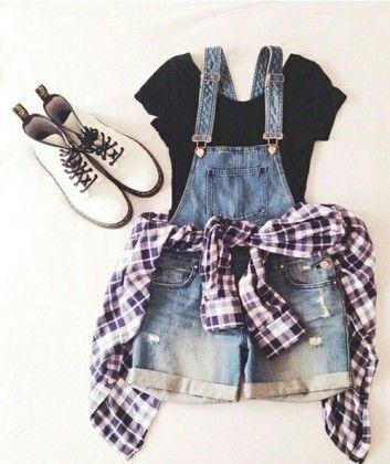 plaid shirt + bib trousers / #fall #fashion