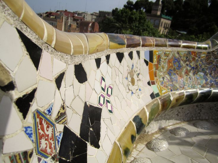 Gaudí's mosaic in park Güell Barcelona, Catalonia, Spain