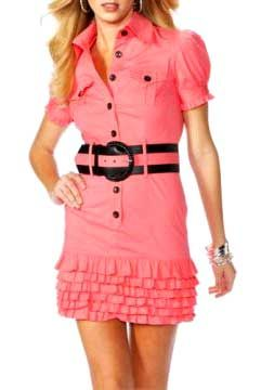 Выкройка платья-рубашки. Очаровательное платье-рубашка! А романтическую нотку этому платью-рубашке придают шесть рядов нежных оборок. Сшить платье-рубашку просто!