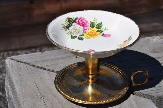 Gold and Vintage Plate Jewelry Stand with Yellow by HauteHomeDecor, $18.00