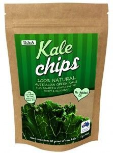 DJ&A - Kale Chips 7gDJ&A Kale chips are naturally high in nutrients such as fiber and protein but are low in calories. One 5 gram bag of Kale is made from around 35 grams of raw kale, making them nutrient dense!- #Gluten Free- #Cholesterol Free- #MSG Free- Packed In Australia