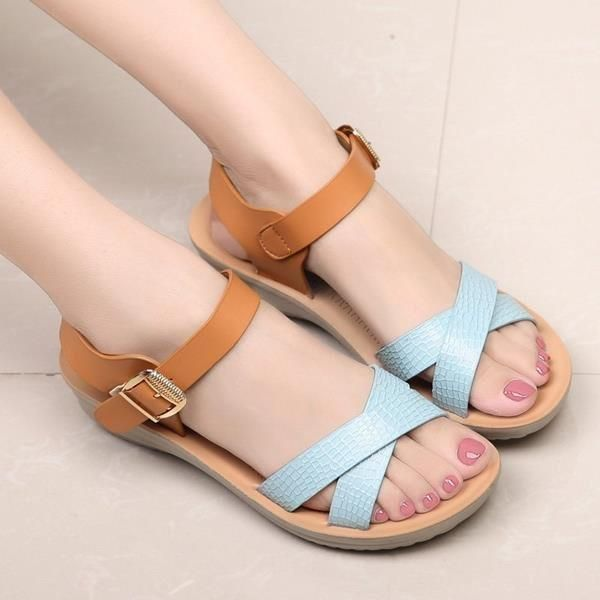 Artificial Leather Color Match Buckle Soft Peep Toe Platform Sandals