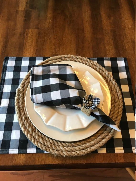 Clearance Classic Black And White 1 Squared Buffalo Etsy Placemats White Placemats Round Table Decor
