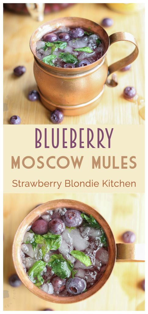 Blueberry Moscow Mules are a sweet and delicious twist on the classic 1940's cocktail that's been taking the bar scene by storm, the Moscow Mule.  Made with homemade blueberry vodka, lime, ginger beer and muddled mint these are sure to be your next go to cocktail recipe for the simplicity and ease of this deliciously refreshing beverage | Strawberry Blondie Kitchen