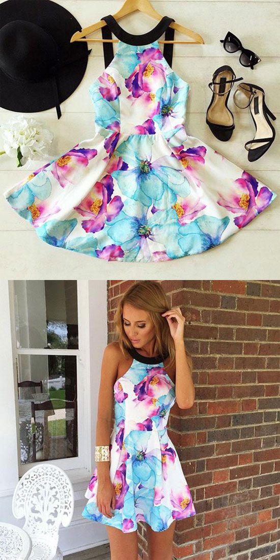 Black Braces Strapless Flower Printing Dress is a perfect choice for summer! #dress #summer #flower #cute