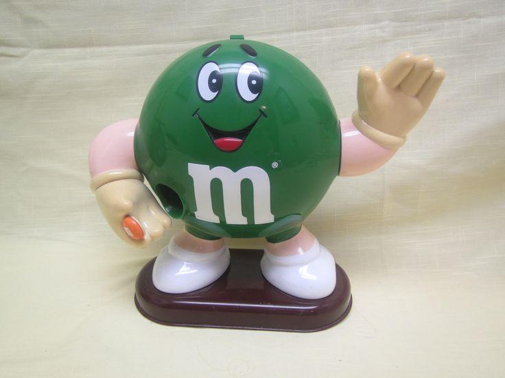 Green  M & M  Dispenser ** M M Dispenser 1992 by Kathysestatefinds on Etsy
