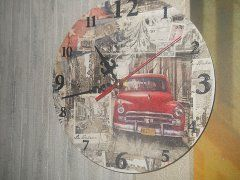 Декупаж , декупаж часов , часы , интерьер , для интерьера