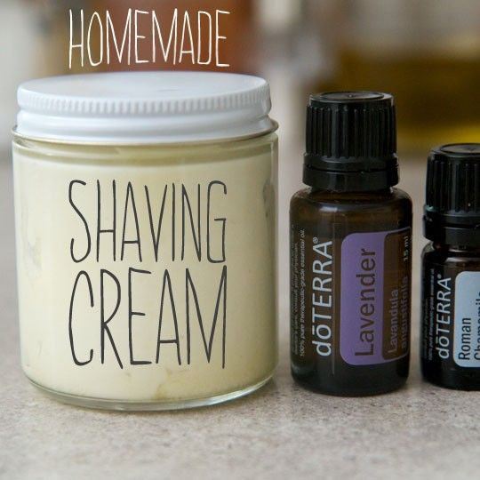 Home made shaving cream -  -2/3 cup Shea nut oil or Shea butter -2/3 coconut oil -1/4 cup olive oil or grapeseed oil -10-20 drops of your favorite essential oils/oil blend -2 tablespoons of baking soda