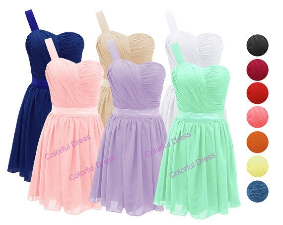 One Shoulder Bridesmaid Dress/Homecoming Dress/Party by ColorDress