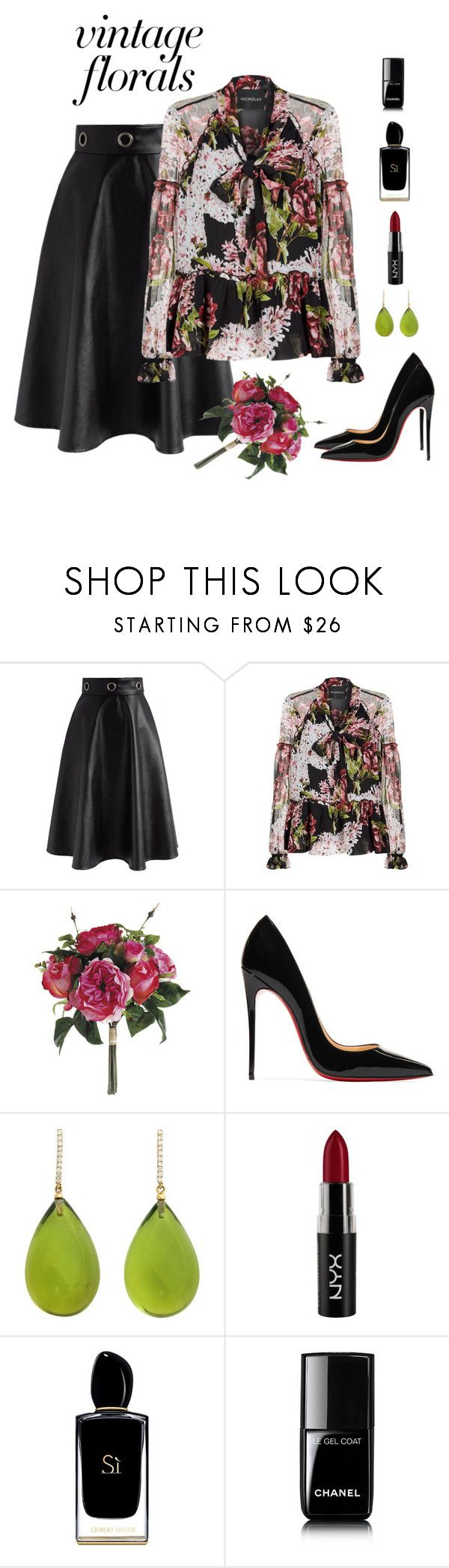 """Smell the Roses: Vintage Florals"" by alara-cary on Polyvore featuring Chicwish, Nicholas, Christian Louboutin, Michael Kanners, NYX, Giorgio Armani, Chanel, vintage and vintageflorals"