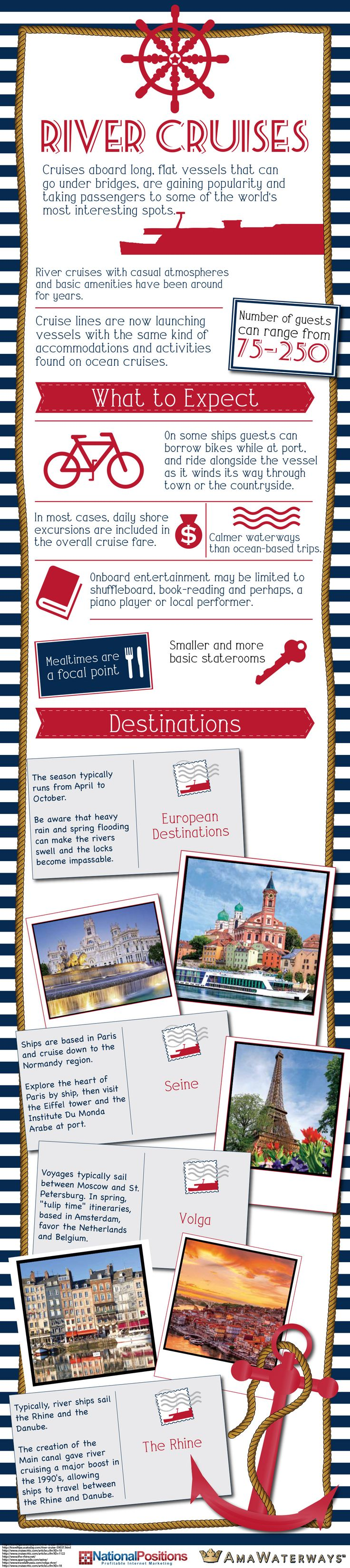 Take a look at the following infographic at http://tripoutlook.com to learn more about what river cruises have to offer.