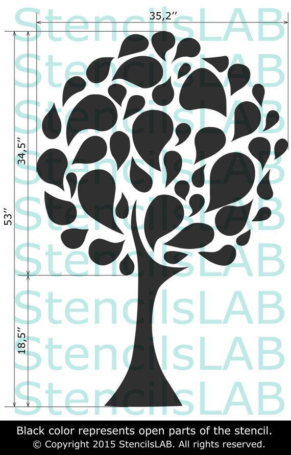 Stencil plantilla decorativo árbol grande de la por StencilsLabNY