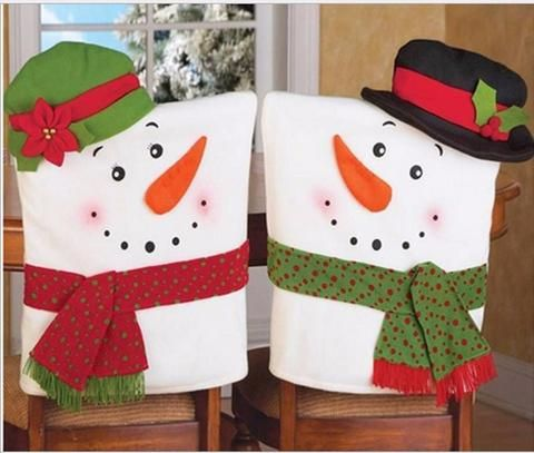 2Pcs Christmas Santa Snowman Lovers Chair
