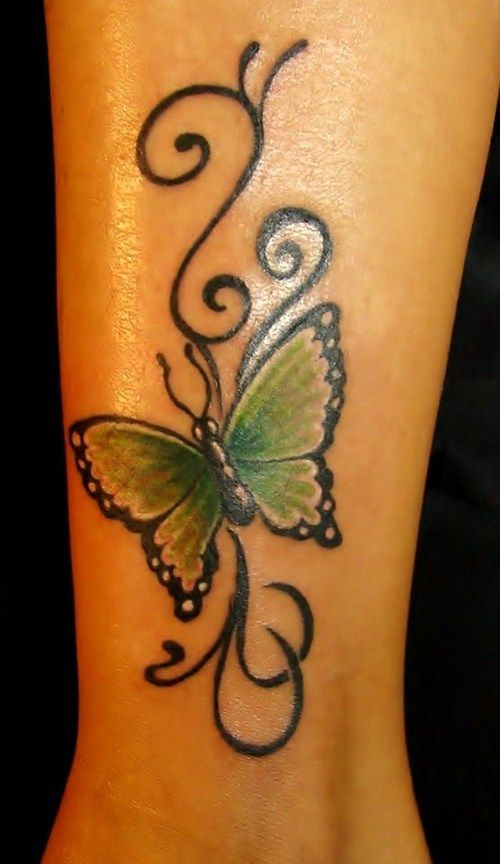 Beautiful butterfly tattoo with black ink curves.. click the pic for more #tattoos
