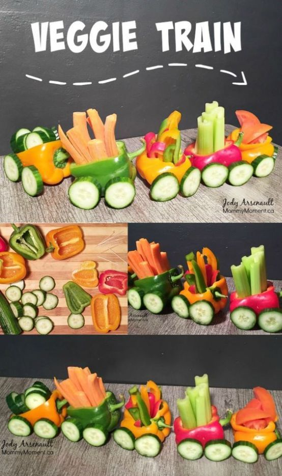 This Veggie Train Snack is fast and easy to make and so fun for the kids. Don't worry about getting it perfect, the kids will love it!!!: || Vegetable Platters for Kids: 10 Christmas Party Platters! || Letters from Santa Holiday Blog