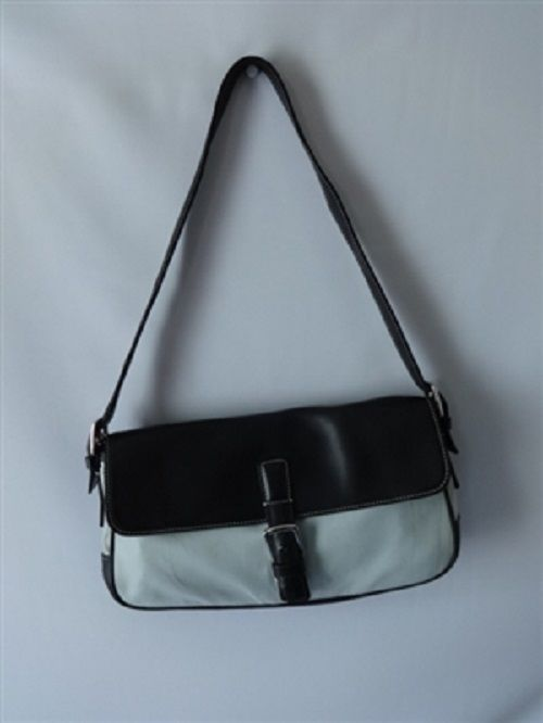 Coach L9K 7702 Lt Blue Microfiber Black Leather Shoulder Bag Handbag Purse | eBay