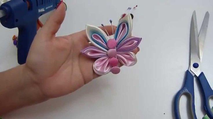 mariposas  para accesorios elaboradas con petalos kanzashi  y gusanito d...