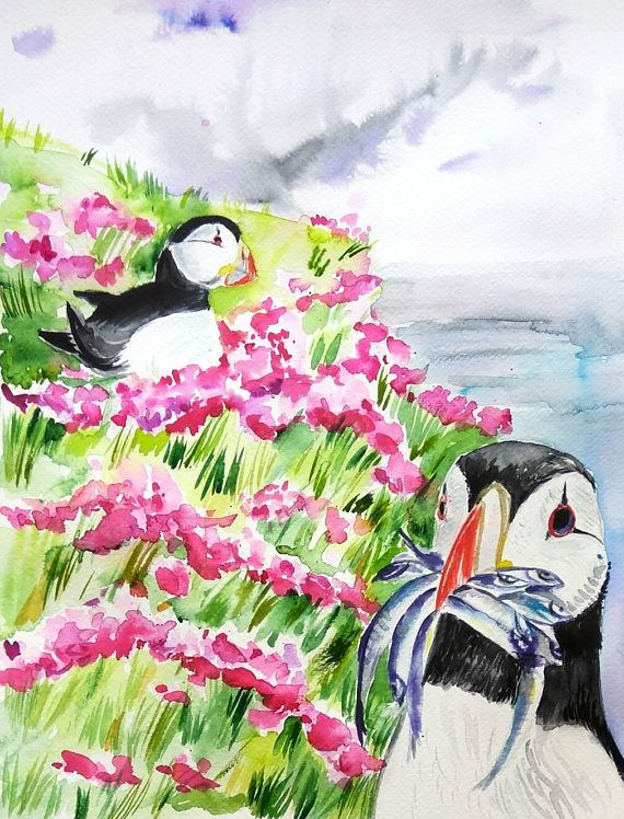 Courting Puffins on the rock original watercolor painting