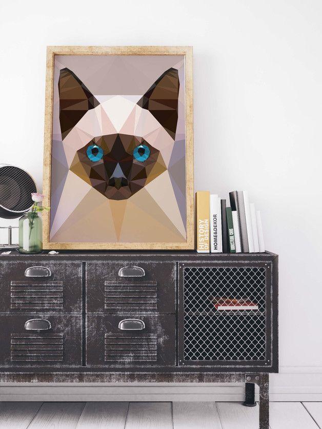 Kunstdruck mit geometrischer Siamkatze / Modern home decor: artprint with geometric siam cat made by Homeyville via DaWanda.com