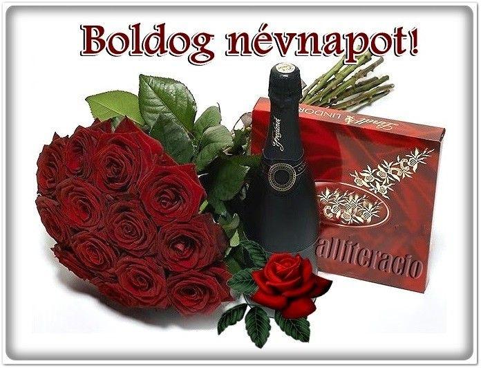 névnap, képeslap, virágok, köszöntő, pezsgő, rózsa,
