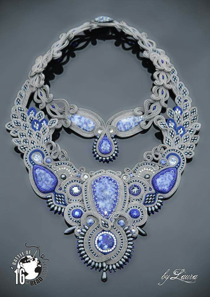 COLLIER - LIGHT BLUE GREY - EMBROIDERY