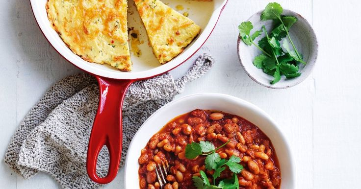 For a real American experience try these slow cooked Boston baked beans served with cheesy cornbread.