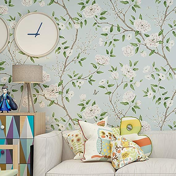Blooming Wall Vintage Fresh Floral Birds Wallpaper Wallpaper Wall Mural For Livingroom Be Vintage Floral Wallpapers Wallpaper Accent Wall Chinoiserie Wallpaper