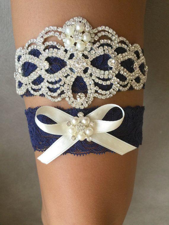 Azul marino Liga Liga de novia encaje marino por ThePerleBridal