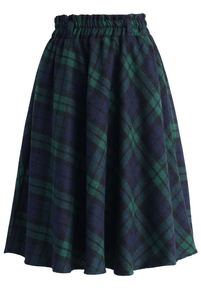 Green Tartan A-line Midi Skirt - Skirt - Bottoms - Retro ...