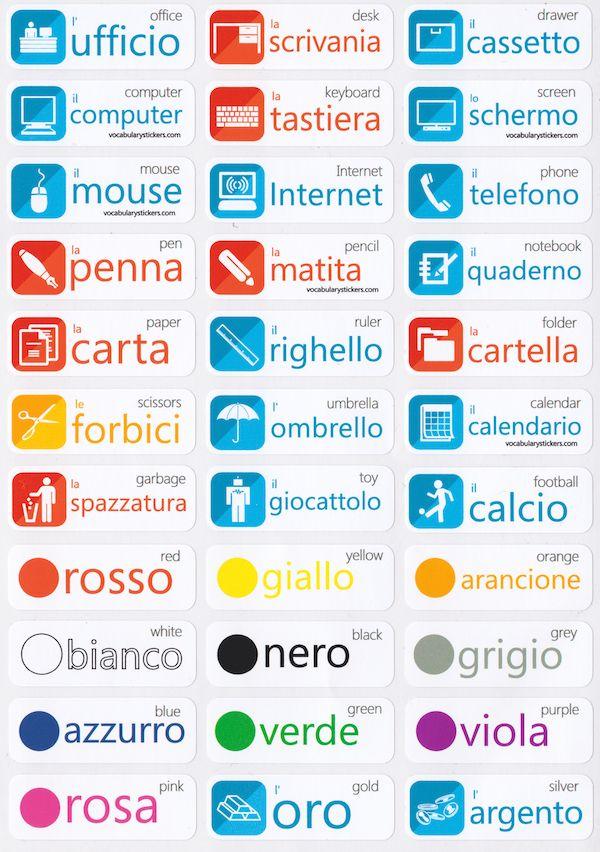 Italian Vocabulary Learning Stickers