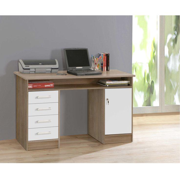 """""""NET106"""" íróasztal, sonoma tölgy/ fehér dekor színben, 4 fiókkal és 1 ajtóval. Mérete: 126x75,8x55 cm."""
