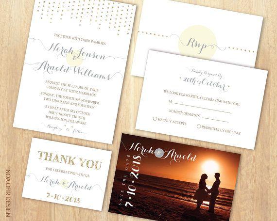 Wedding Invitation Set, Sparkle Invitation, Glitter Invitation, Gold Invitation, Printable DIY Invite, RSVP, Save The Date, Thank You Card
