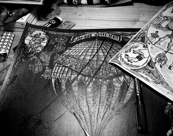 "Belly Hole Freak ""Superfreak"" work in progress etching by Susanna Doccioli"