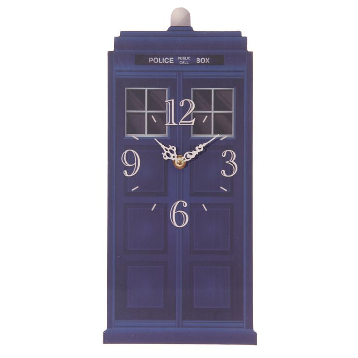 Fun Novelty Doctor Who Style Police Box Shaped Wall Clock  £12 + FREE P&P.  Each clock is made from MDF and has a standard plastic clock movement that requires 1 AA battery. All are wall mountable and come in a decorative but simple display box making them ideal gifts.  Dimensions: 15 x 35.5cm   https://www.facebook.com/thegiftworkshop #htlmp #clock #DoctorWho #bowtiesarecool