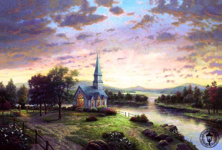 Thomas Kinkade. Sunrise chapel
