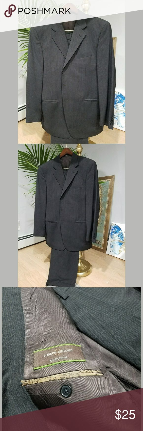 Joseph Abboud Nordstrom Exclusive Men's Wool Suit Joseph Abboud wool suit made exclusively for Nordstrom. Suit is black with delicate dark brown pinstrips. Most details shown above in picture but please conment any questions. Pants are cuffed and have a medium break. Joseph Abboud for Nordstrom Suits & Blazers Suits