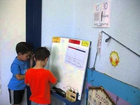 Cálculo ABN con palillos en Infantil 4 años Numero 10 . Montamos una decena. Suma 9 + 1.