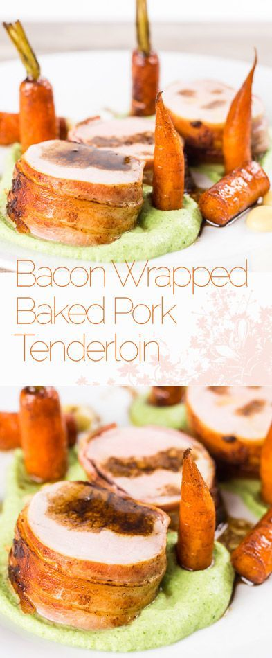 Anything wrapped in bacon is awesome so this simple bacon wrapped baked pork tenderloin really owns it and the whole meal is more simple than it looks. All told this can be on your table in a shade under an hour. #pork #porktenderloin #porkrecipe #bacon #baconday #carrot #broccoli #puree #balsamic #recipe #recipeoftheday
