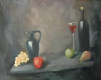 "Red wine. Original oil painting on canvas - Size: 27,56"" x 19,69"" (70 cm x 50 cm) - Edit Listing - Etsy"