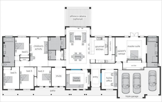 McDonald Jones Bronte Farmhouse Grand Manor floor plan. Love this plan! don't need theatre and study, and add the pool/music room