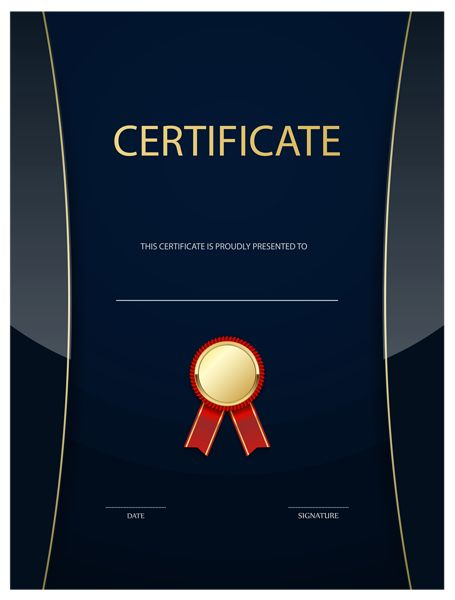 Dark Blue Certificate Template PNG Image