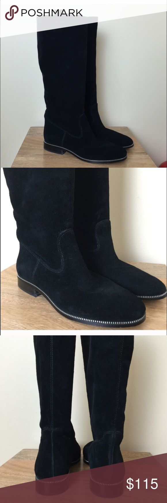 Black suede knee high MK boots Black suede knee high MK boots good condition (reposh) size 9 Michael Kors Shoes