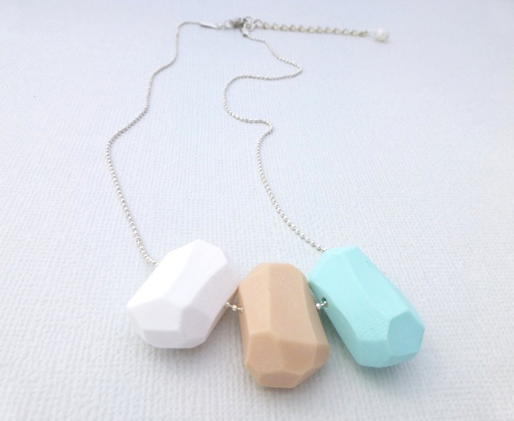 Pastel Geo Necklace in Mint, Peach and White available at Whimsy & Grace NZ
