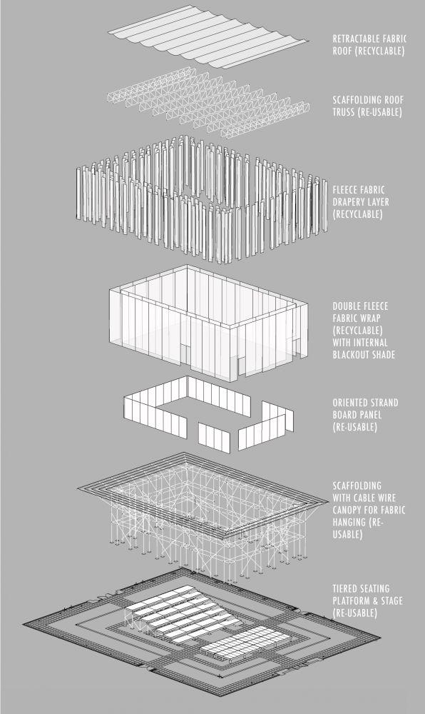 architecture exploded diagram _ Willow Theater / Tim Lai Architect + Brad Steinmetz Stage Design