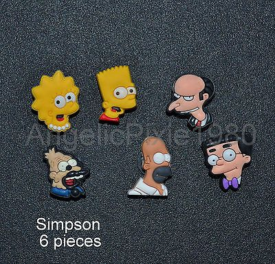 6pc The Simpsons Characters SHOE CHARMS Fits Wristbands & Crocs USA SELLER