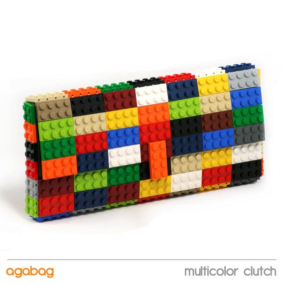 Multicolor clutch made entirely of LEGO bricks by agabag on Etsy, $125.00