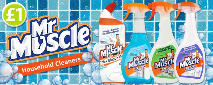 For spectacular cleaning results look no further than Mr Muscle! We are featuring bathroom cleaner, kitchen cleaner, window cleaner & toilet bleach all for only £1 each! www.poundshop.com/home-garden/household/cleaning