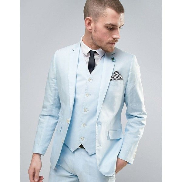 Gianni Feraud Wedding 55% Linen Slim Fit Suit Jacket With Floral Lapel... ($121) ❤ liked on Polyvore featuring men's fashion, men's clothing, men's suits, blue, mens slim cut suits, mens blue linen suit, mens slim suits, slim and tall mens clothing and mens linen suits