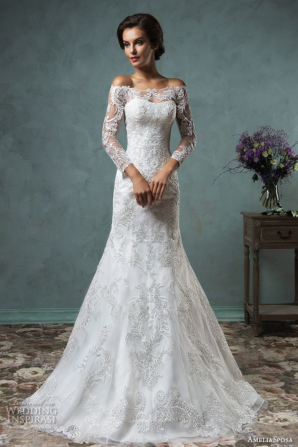 amelia sposa 2016 wedding dresses off the shoulder lace long sleeves overskirt stunning beautiful trumpet fit to flare mermaid dress celeste #weddingdresses #trumpetweddingdress #weddings